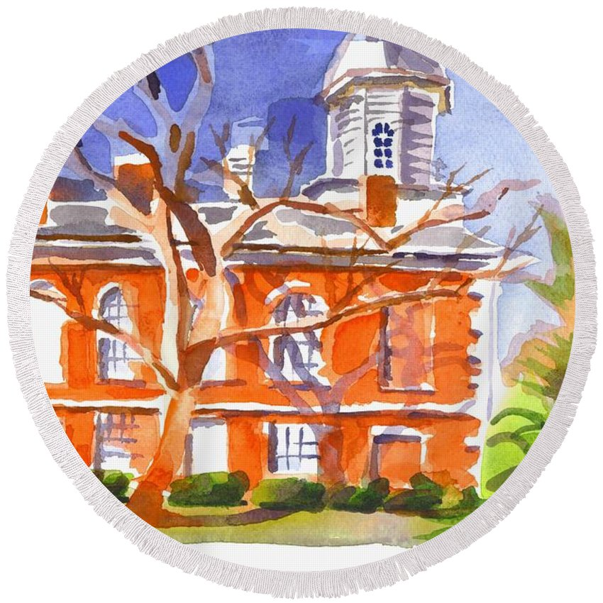 A Late Autumns Saturday Afternoon. Iron County Courthouse Round Beach Towel featuring the painting A Late Autumns Saturday Afternoon by Kip DeVore