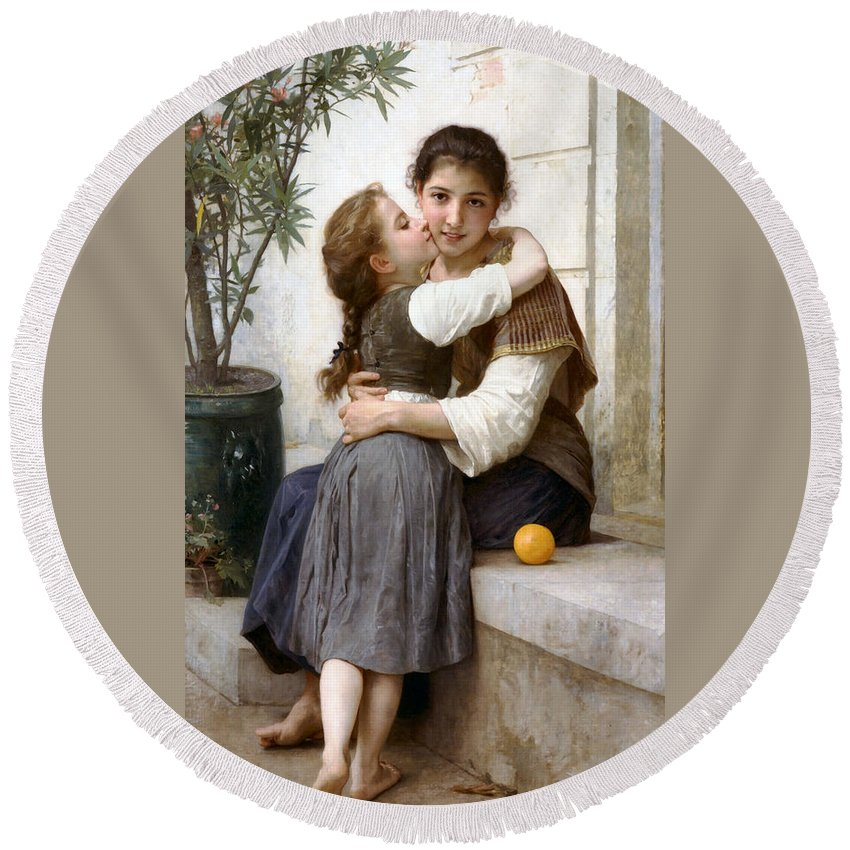 A Little Coaxing Round Beach Towel featuring the digital art A Little Coaxing by William Bouguereau