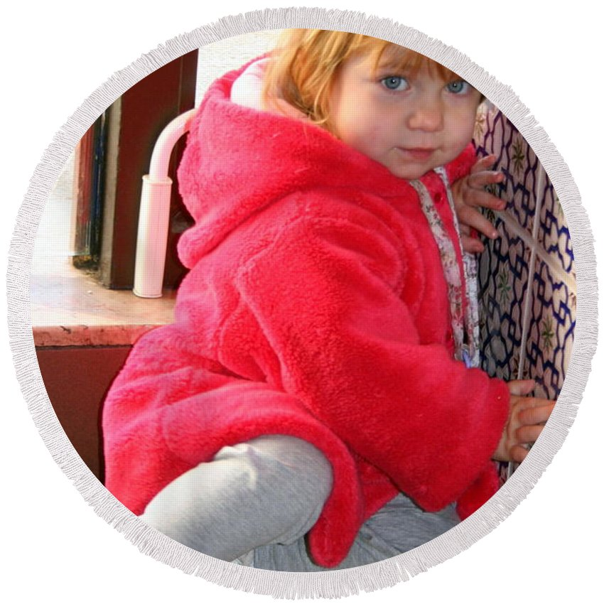 Girl Round Beach Towel featuring the photograph A Little Girl In Red by Laurel Talabere
