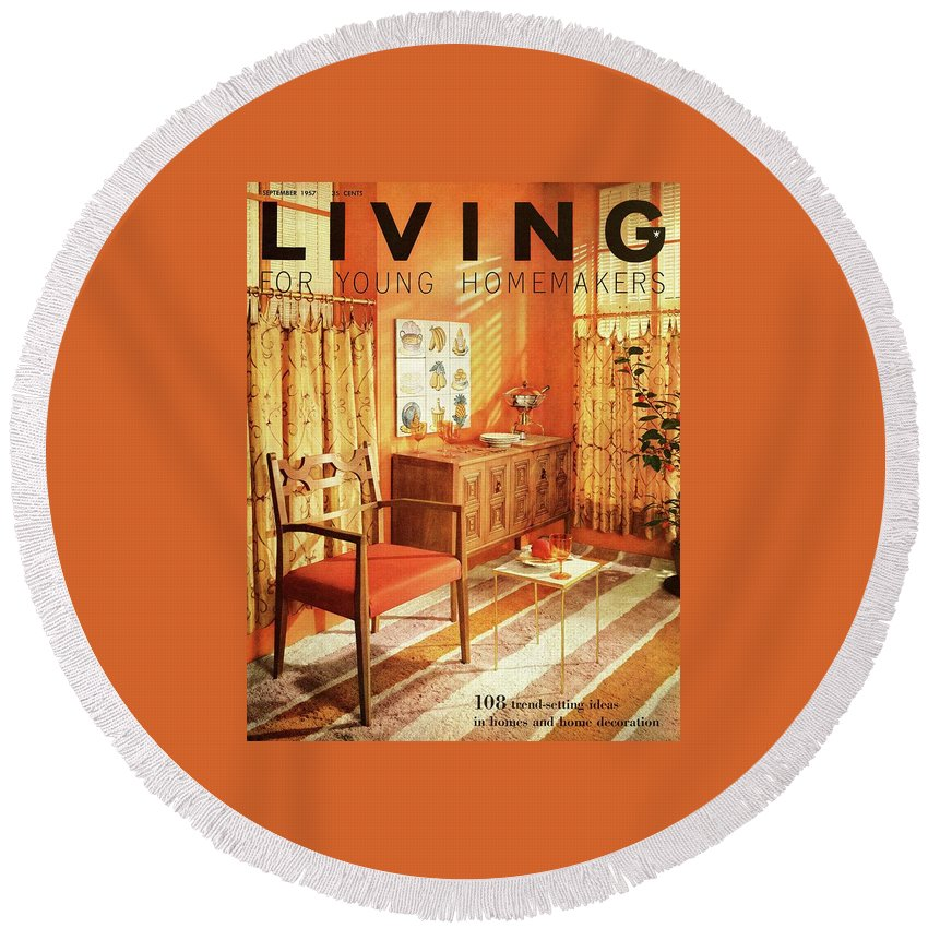 Furniture Round Beach Towel featuring the digital art A Living Room With Furniture By Mt Airy Chair by F. M. Demarest