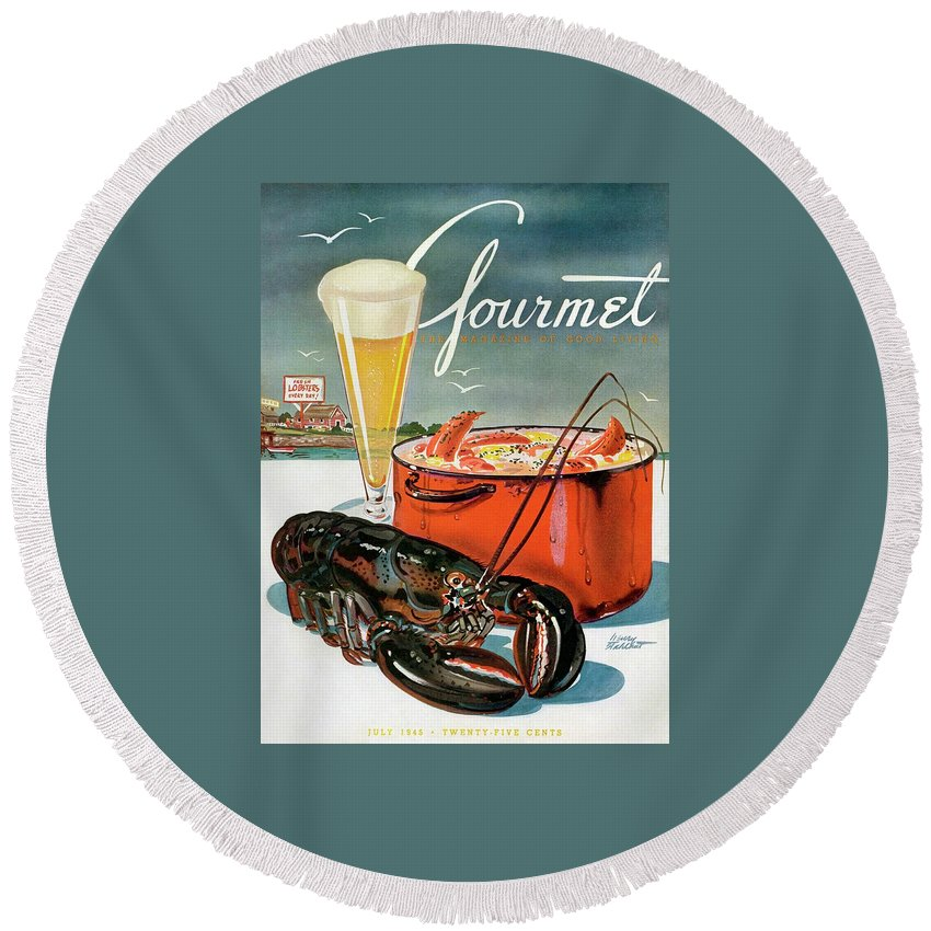 Illustration Round Beach Towel featuring the photograph A Lobster And A Lobster Pot With Beer by Henry Stahlhut