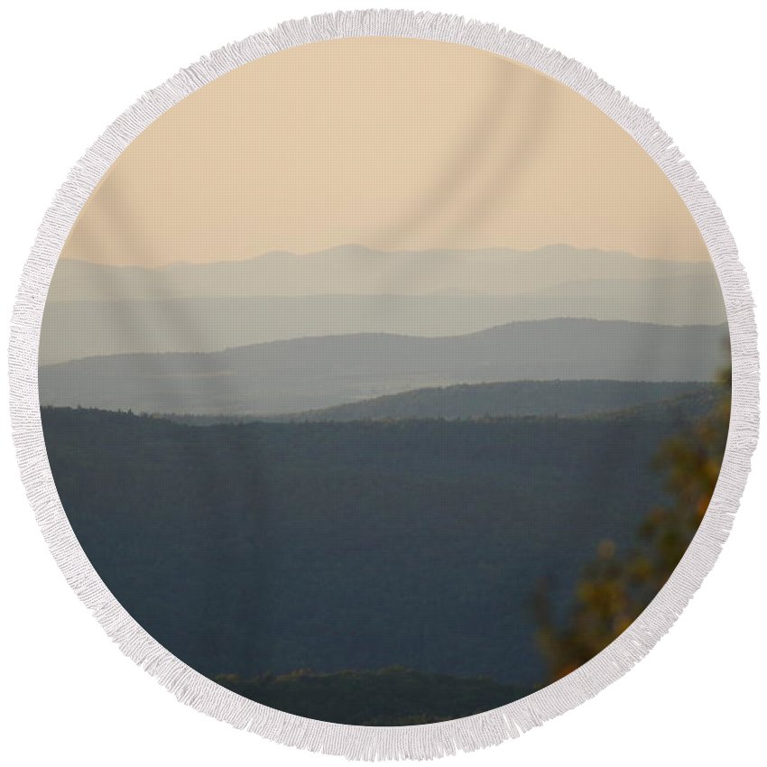 Landscapes Round Beach Towel featuring the photograph A Long Way To Go by Jeffery L Bowers