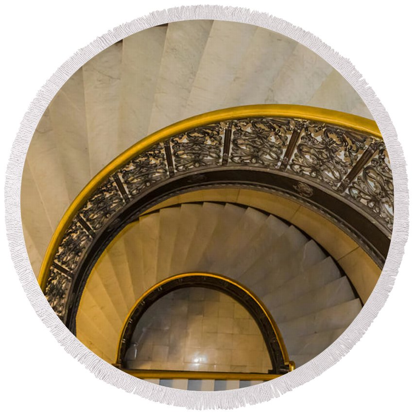 Rochester City Hall Main Hall Round Beach Towel featuring the photograph A Look Down The Stairs by Ray Sheley