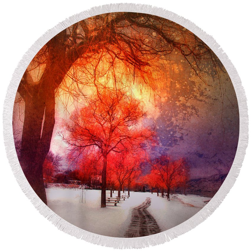Winter Round Beach Towel featuring the photograph A Magic Winter by Tara Turner