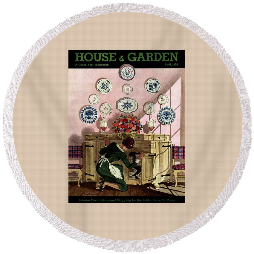 House And Garden Round Beach Towel featuring the photograph A Maid Getting China From A French Provincial by Pierre Brissaud