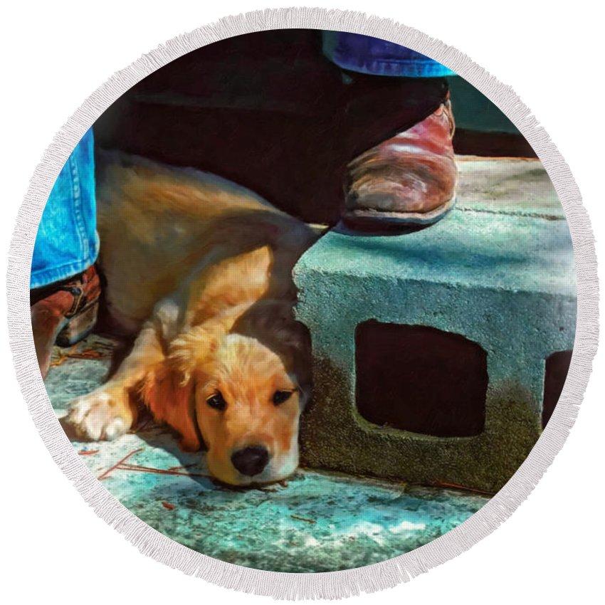 Dog Round Beach Towel featuring the photograph A Man And His Dog Oil by Steve Harrington