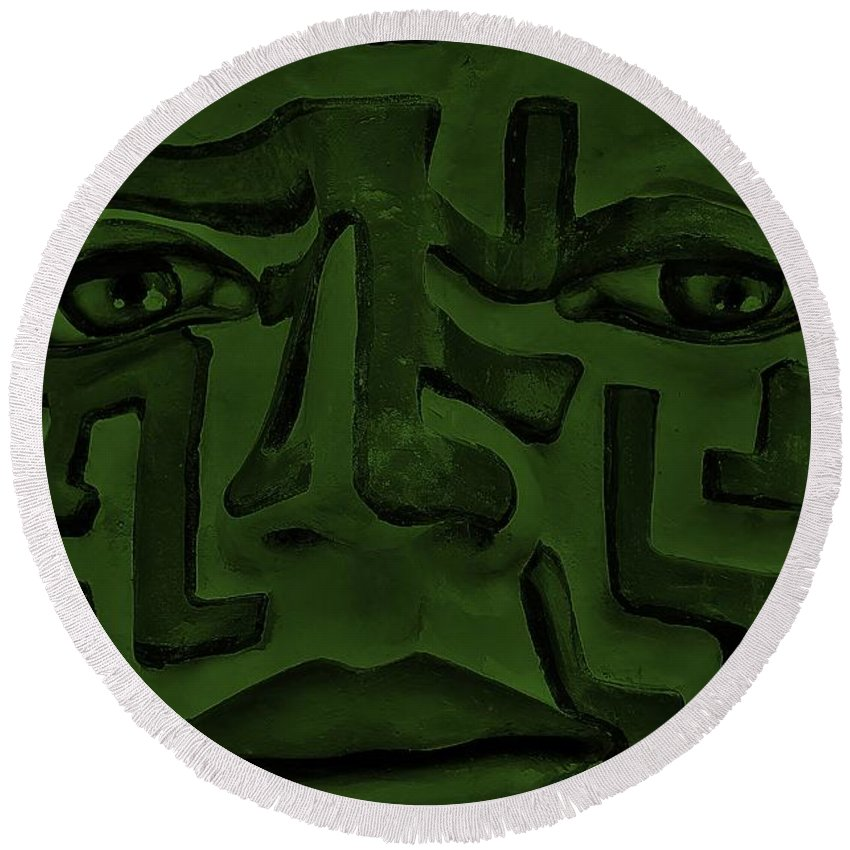 Maze Round Beach Towel featuring the photograph A Mazing Olive Face by Rob Hans