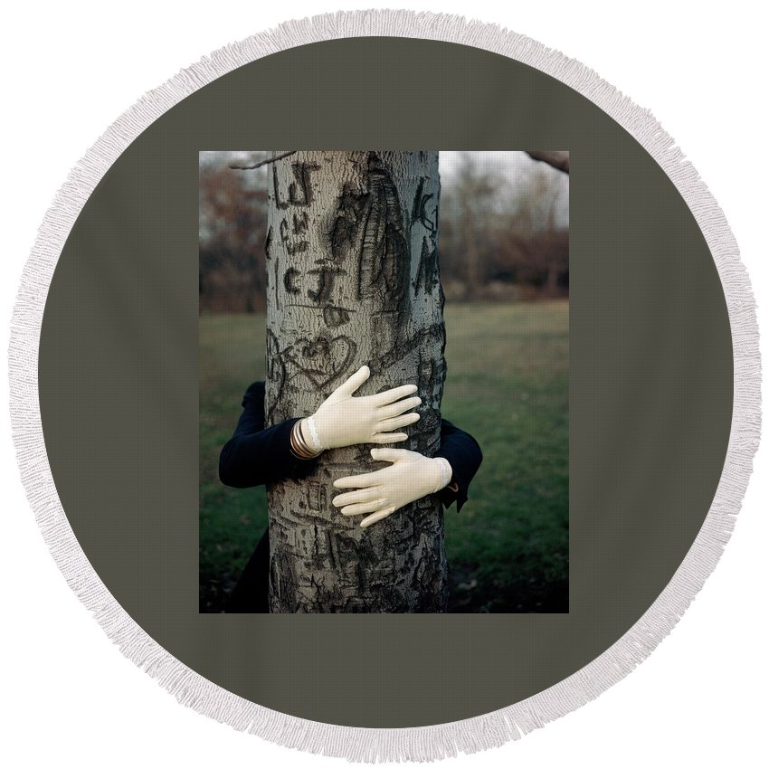 Fashion Round Beach Towel featuring the photograph A Model Hugging A Tree by Frances Mclaughlin-Gill
