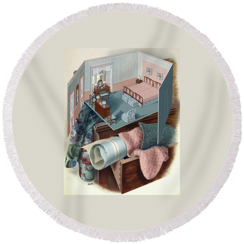 Visual Arts Round Beach Towel featuring the digital art A Model Of A Bedroom On Top Of A Set Of Drawers by Victor Bobritsky