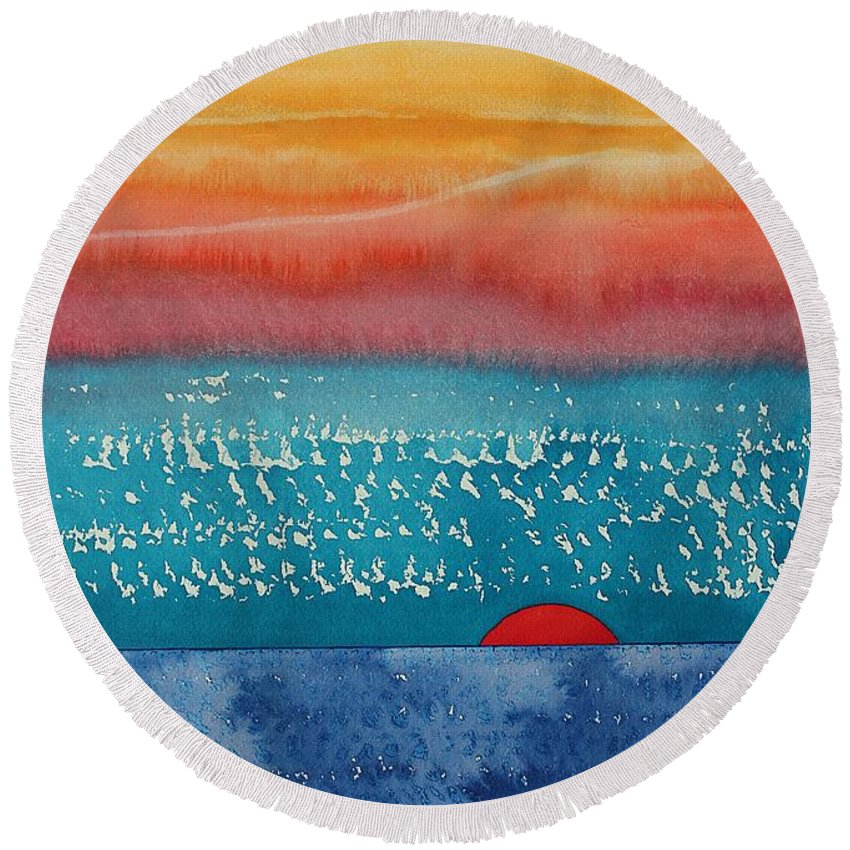 Dawn Round Beach Towel featuring the painting A New Day Dawns Original Painting by Sol Luckman