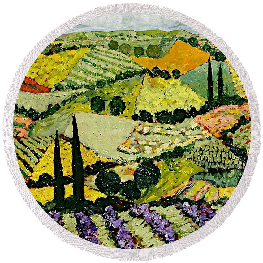 Landscape Round Beach Towel featuring the painting A New Season by Allan P Friedlander