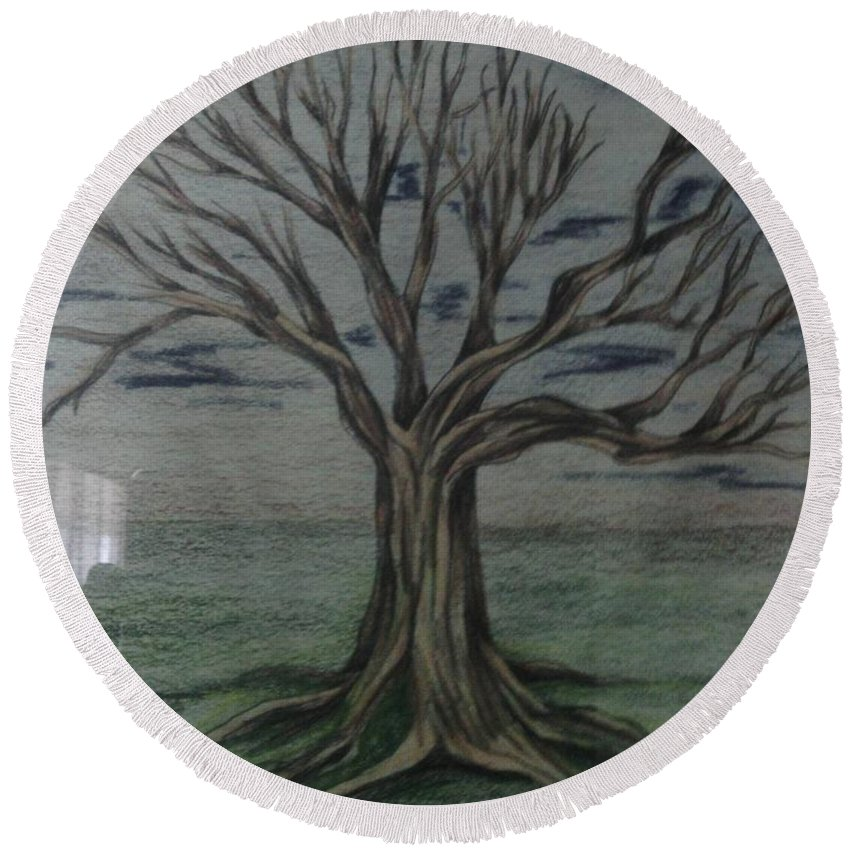 Tree Round Beach Towel featuring the drawing a New Start by Robert Usher
