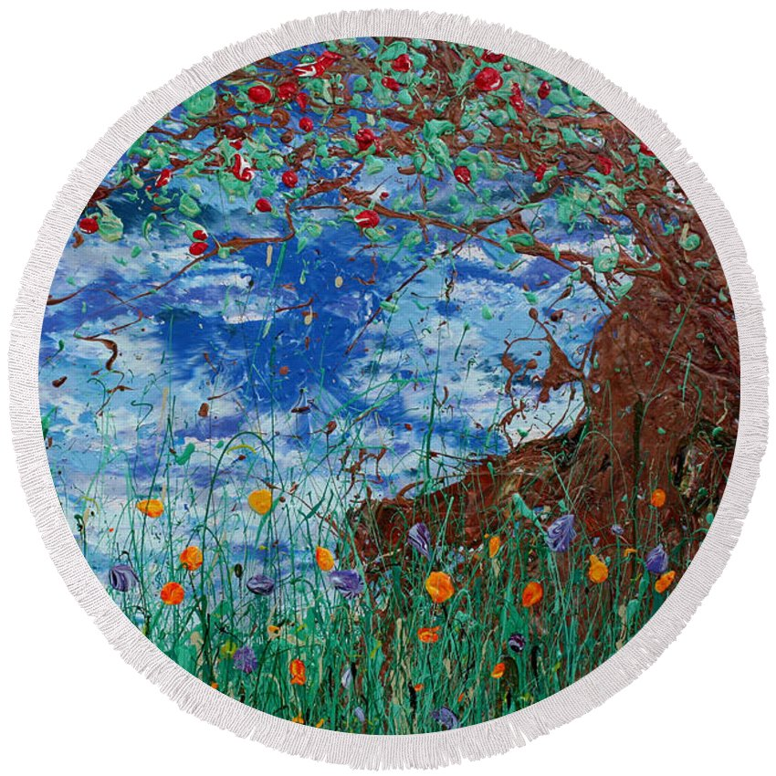 Decorator Art Round Beach Towel featuring the painting A Nice Place For A Nap by Ric Bascobert
