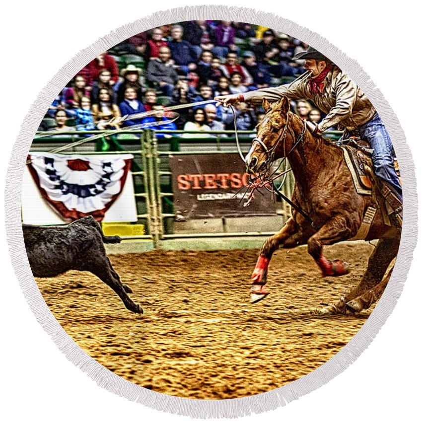 Night Round Beach Towel featuring the photograph A Night At The Rodeo V10 by Douglas Barnard