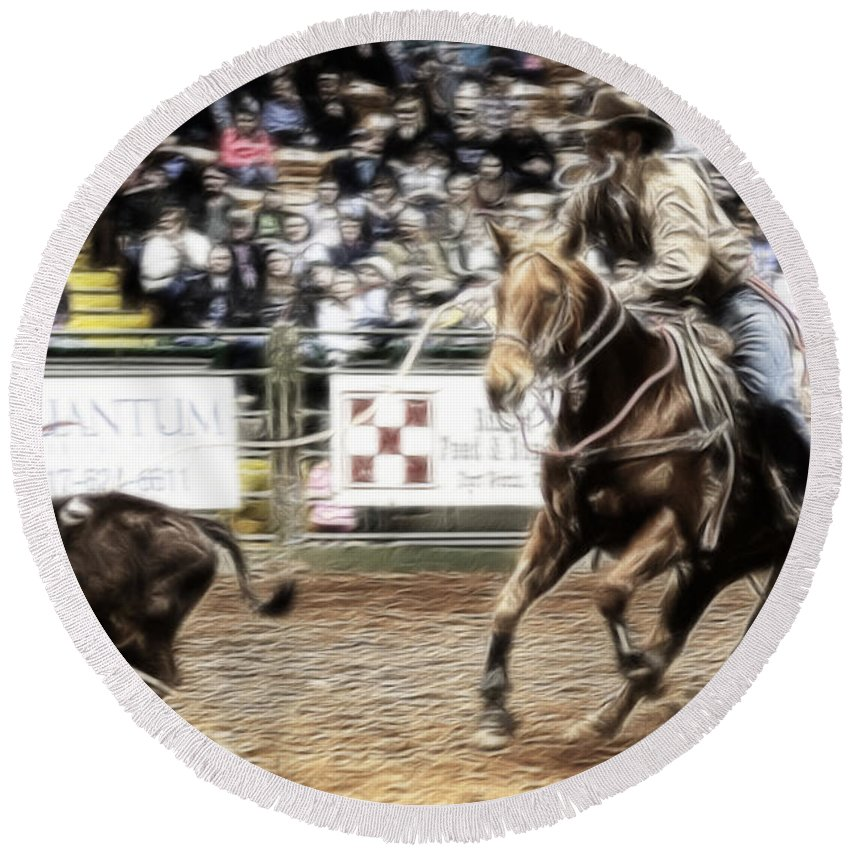 Night Round Beach Towel featuring the photograph A Night At The Rodeo V12 by Douglas Barnard