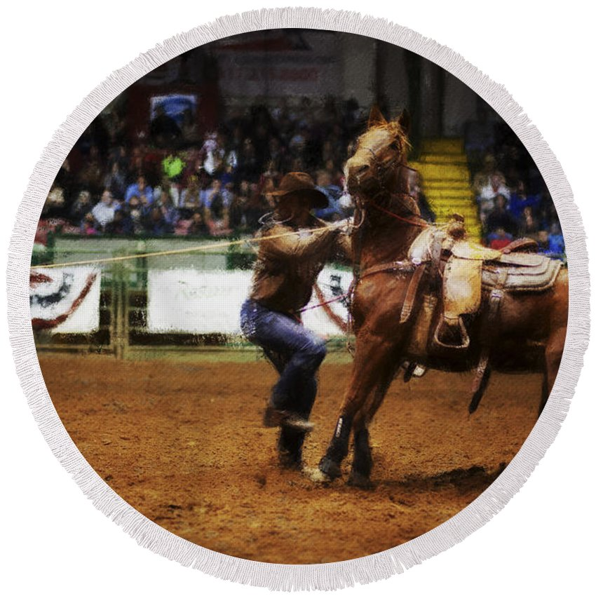Night Round Beach Towel featuring the photograph A Night At The Rodeo V13 by Douglas Barnard