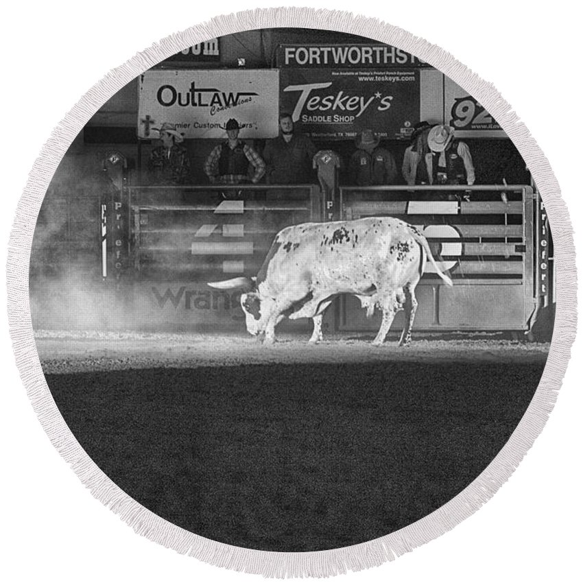 Night Round Beach Towel featuring the photograph A Night At The Rodeo V2 by Douglas Barnard