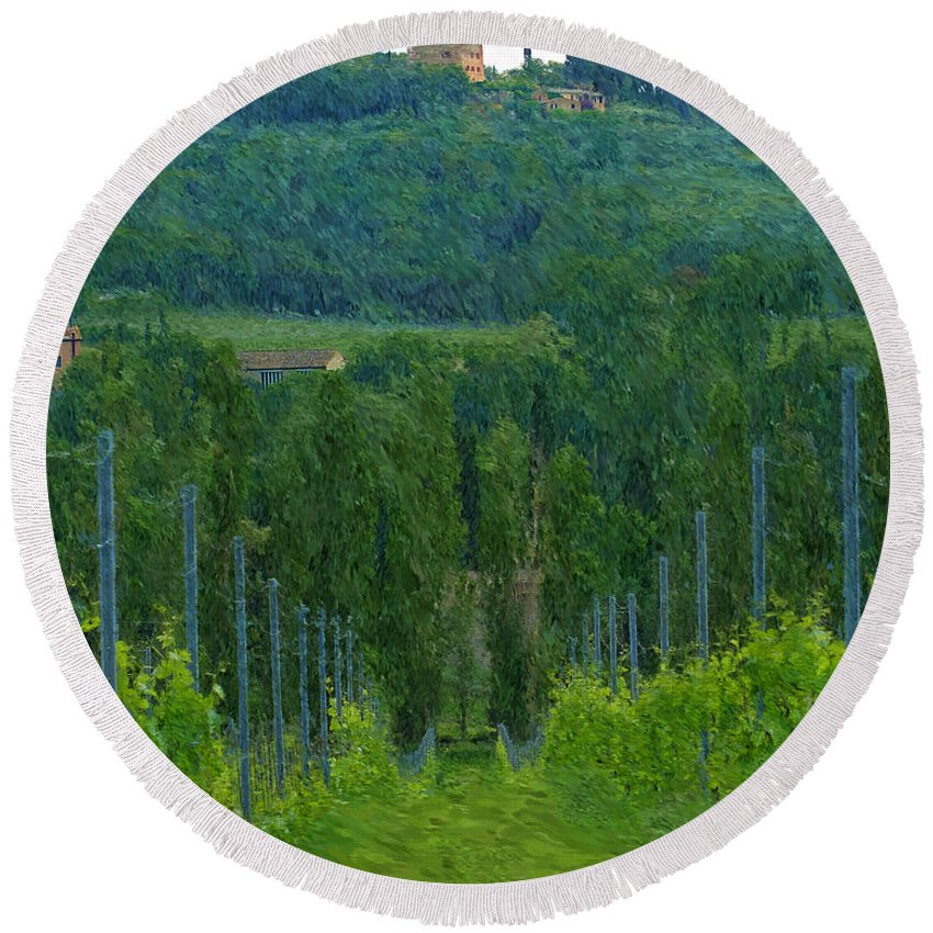 Tuscany Round Beach Towel featuring the photograph A Painting A Tuscan Vineyard And Villa by Mike Nellums