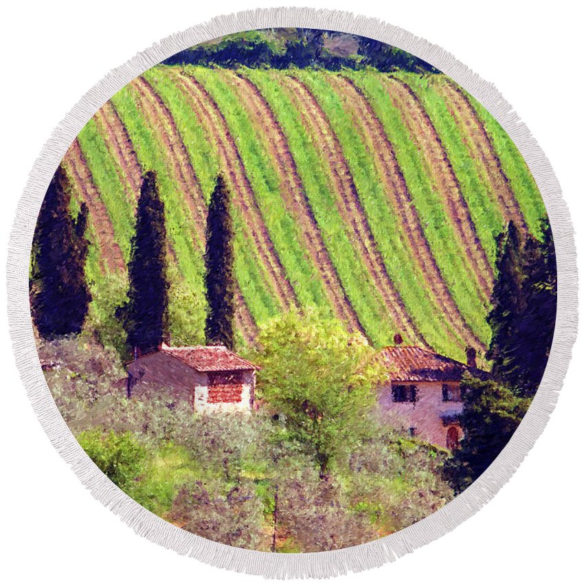 Tuscany Round Beach Towel featuring the photograph A Painting Tuscan Vineyard by Mike Nellums