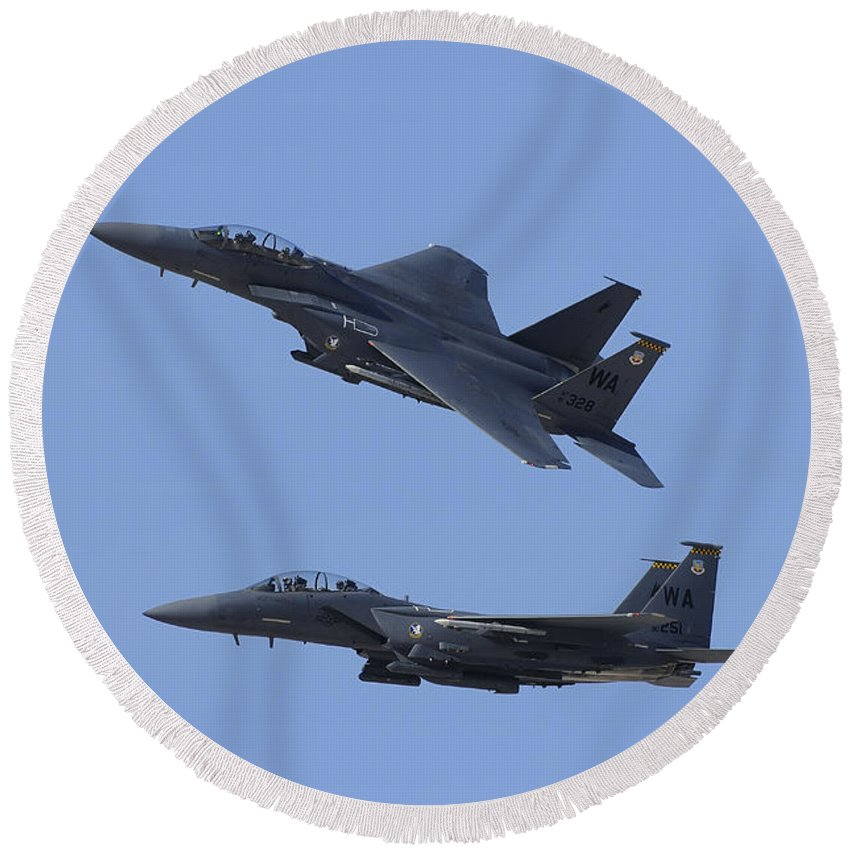 Horizontal Round Beach Towel featuring the photograph A Pair Of F-15c Eagle Aircraft Perform by Remo Guidi