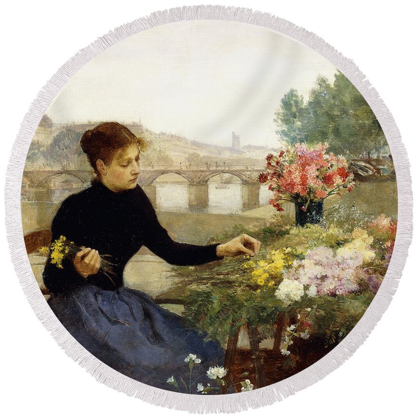 Victor Gabriel Gilbert Round Beach Towel featuring the painting A Parisian Flower Market by Victor Gabriel Gilbert