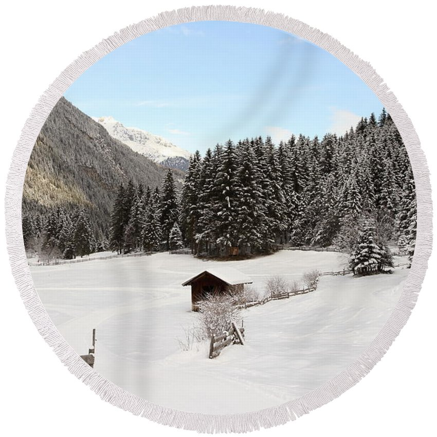 Snow Round Beach Towel featuring the photograph A Peaceful Winterscene by Christiane Schulze Art And Photography