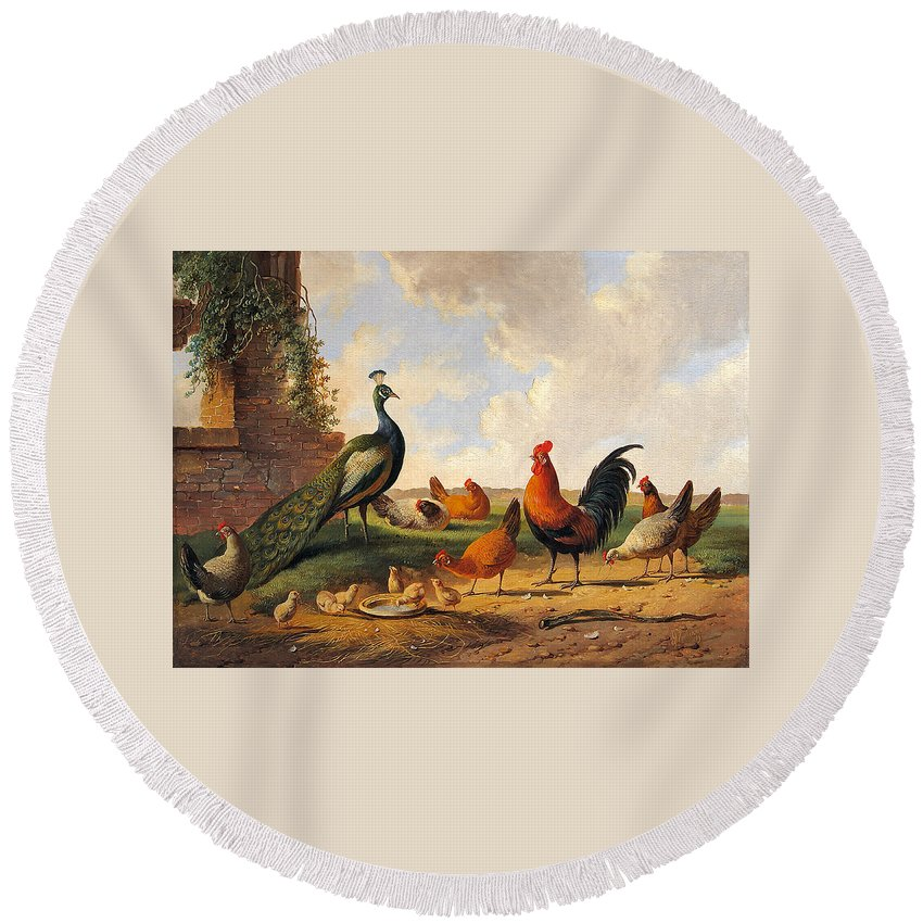 Albertus Verhoesen Round Beach Towel featuring the digital art A Peacock And Chickens In A Landscape by Albertus Verhoesen