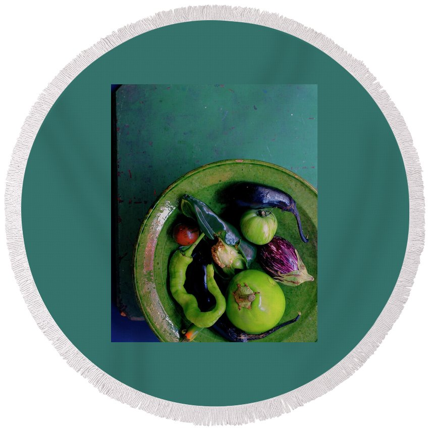 Fruits Round Beach Towel featuring the photograph A Plate Of Vegetables by Romulo Yanes