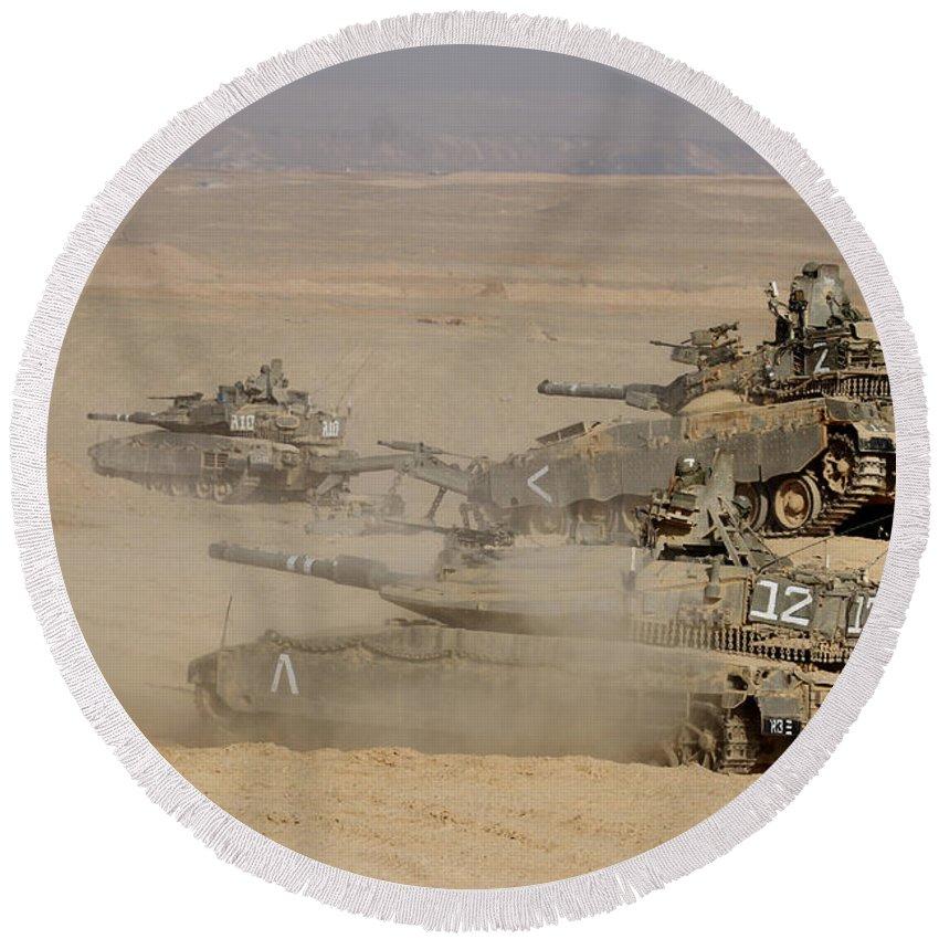 Battletank Round Beach Towel featuring the photograph A Platoon Of Israel Defense Force by Ofer Zidon
