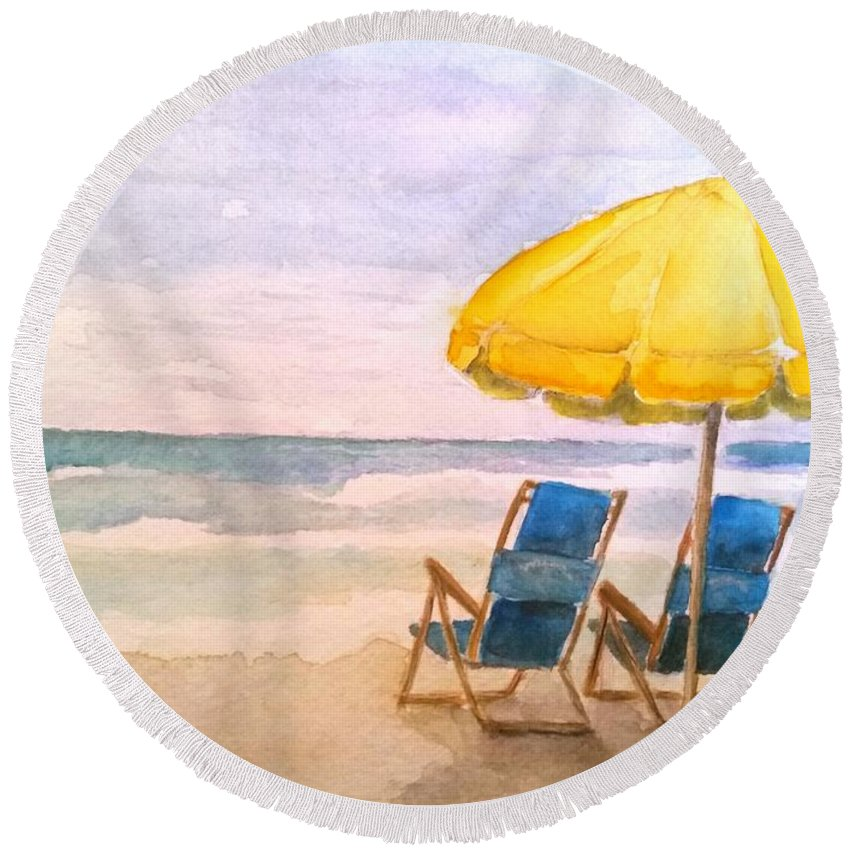 Pleasure Island Round Beach Towel featuring the painting A Pleasure Island Afternoon by Bev Veals