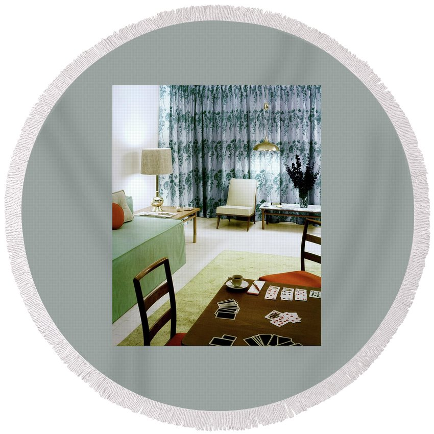 Charles Bloom Round Beach Towel featuring the photograph A Retro Bedroom by Haanel Cassidy