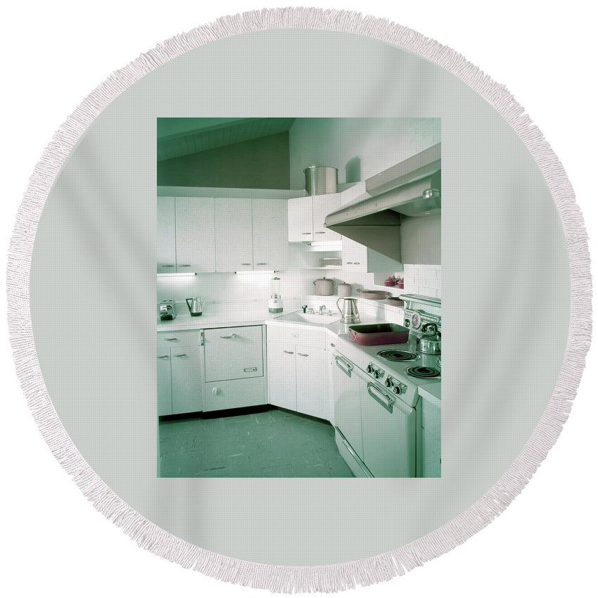 Indoors Round Beach Towel featuring the photograph A Retro Kitchen by Haanel Cassidy