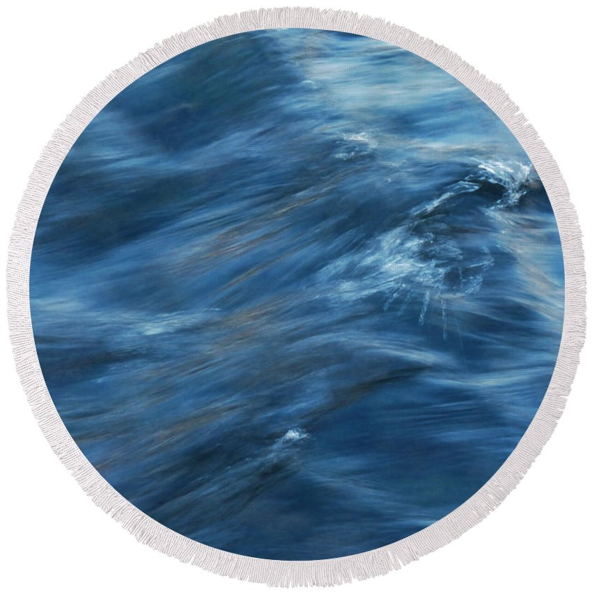 Blue Round Beach Towel featuring the photograph A River Flows Gently By by Steve Taylor