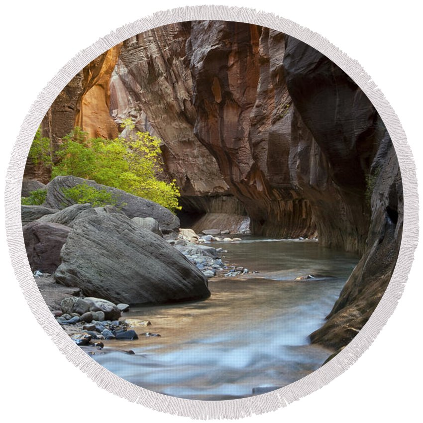 The Narrows Round Beach Towel featuring the photograph A River Runs Through It by Bob Phillips