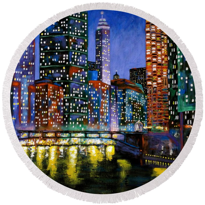 Chicago River Round Beach Towel featuring the painting A River Runs Through It by J Loren Reedy