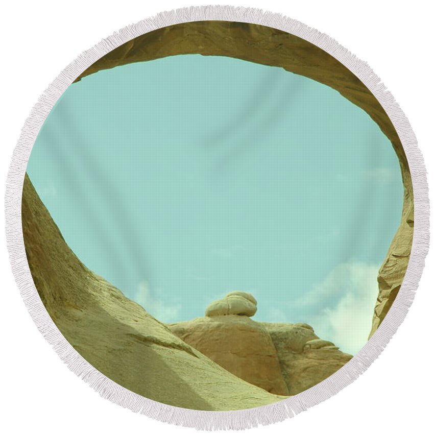 Rocks Round Beach Towel featuring the photograph Rock Inside The Window by Jeff Swan