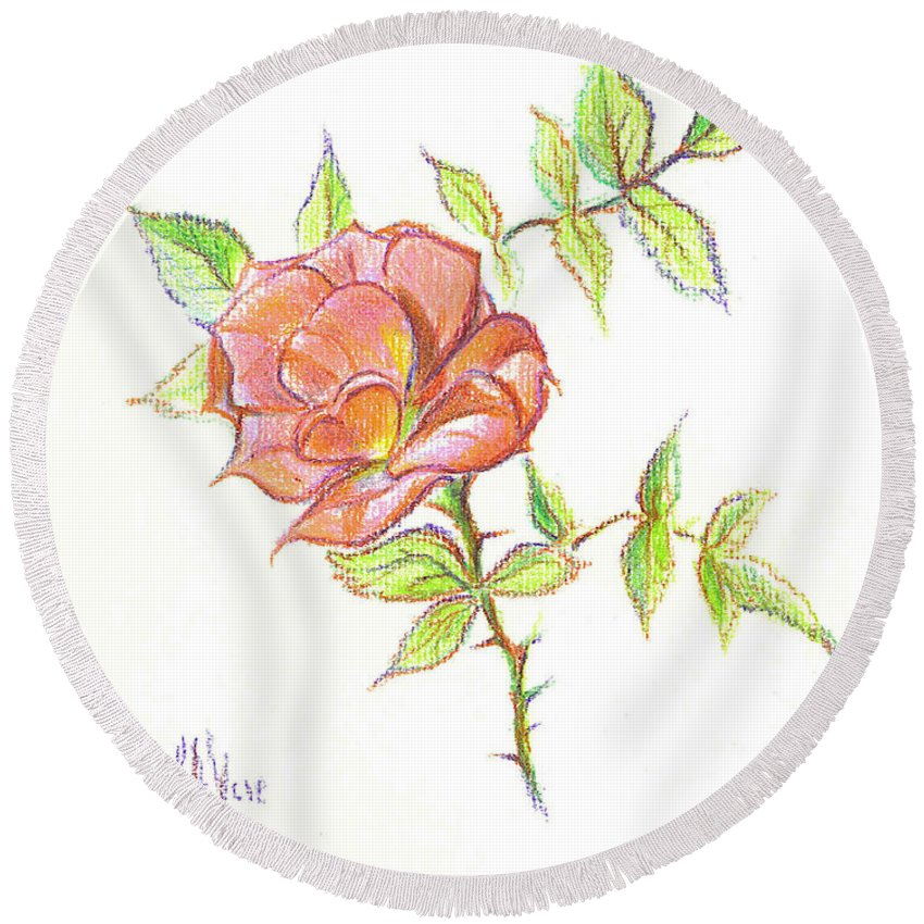 A Rose In Brigadoon Round Beach Towel featuring the drawing A Rose In Brigadoon by Kip DeVore