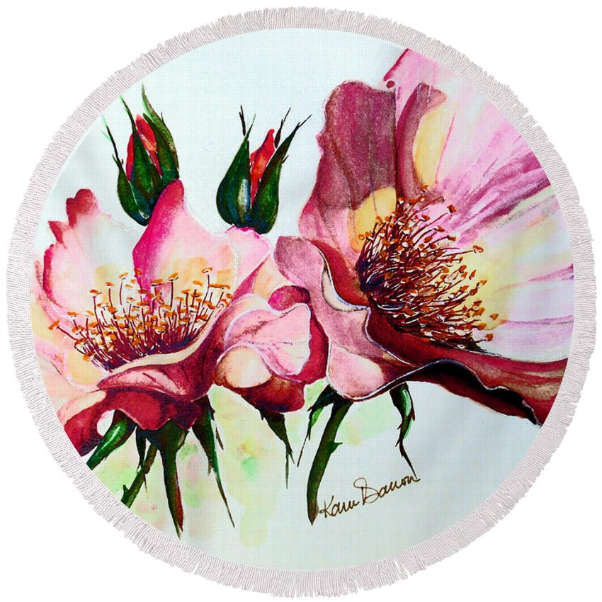 Flower Painting Round Beach Towel featuring the painting A Rose Is A Rose by Karin Dawn Kelshall- Best