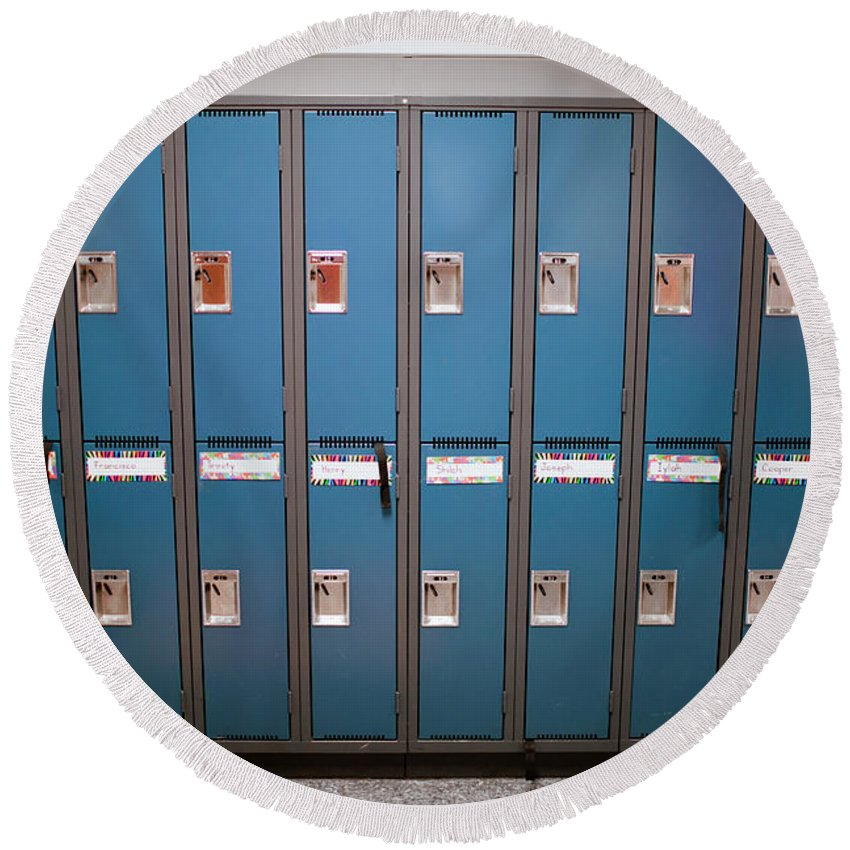 Arrangement Round Beach Towel featuring the photograph A Row Of Lockers In A School Hallway by Christopher Kimmel