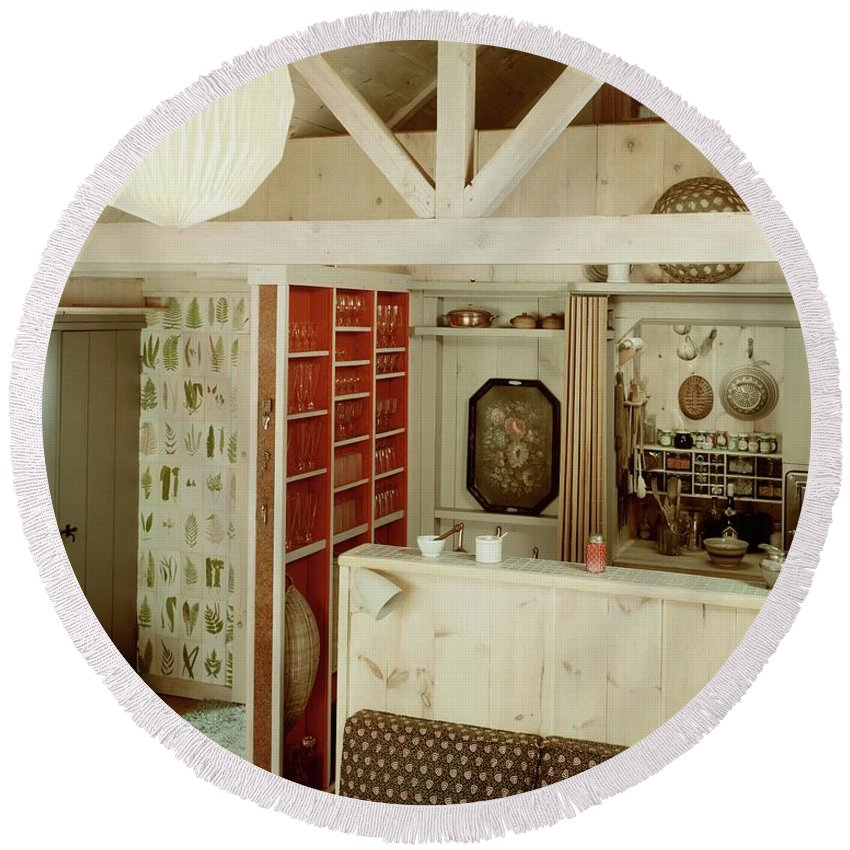 Home Round Beach Towel featuring the photograph A Rustic Kitchen by Haanel Cassidy