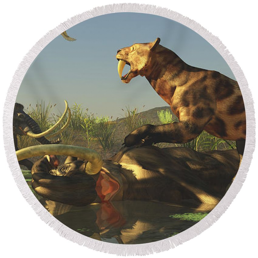 Smilodon Round Beach Towel featuring the digital art A Saber Tooth Cat Attacks A Woolly by Corey Ford