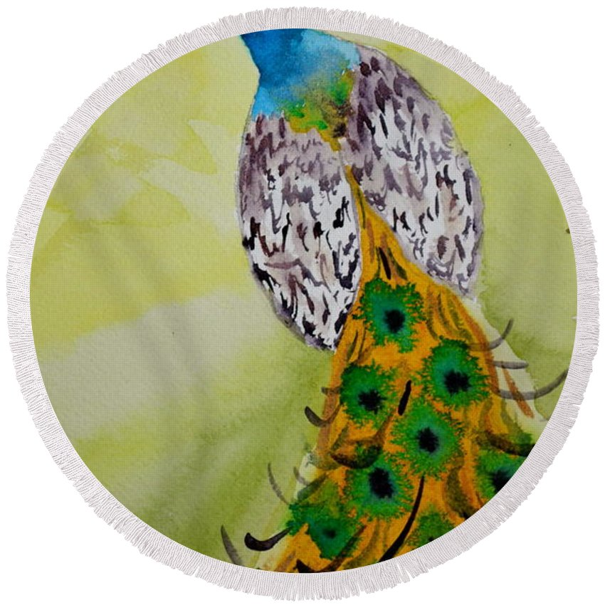 Peacock Round Beach Towel featuring the painting A Searching Look by Beverley Harper Tinsley