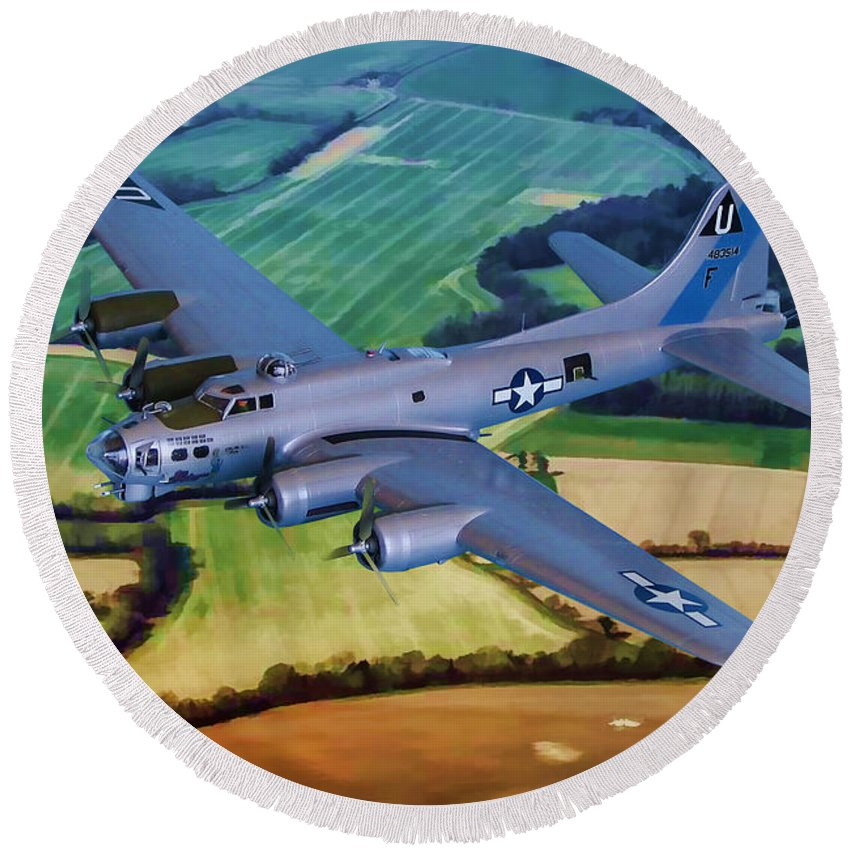 Boeing B-17g Flying Fortress Round Beach Towel featuring the digital art A Sentimental Journey by Tommy Anderson