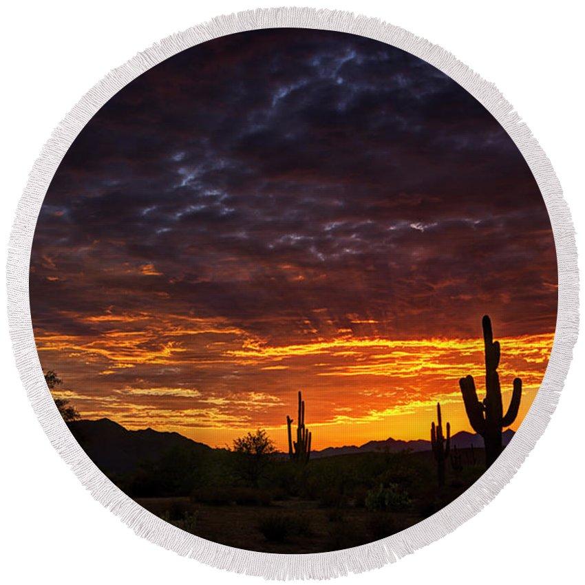 Sunset Round Beach Towel featuring the photograph A Sentinel Sunset by Saija Lehtonen