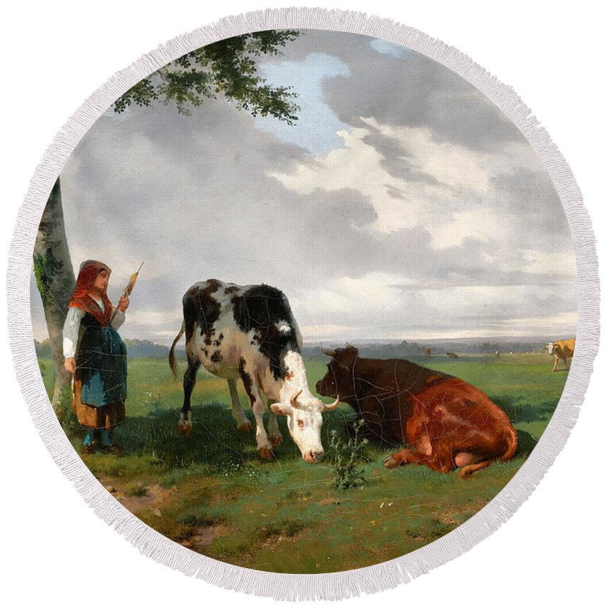 Rosa Bonheur Round Beach Towel featuring the painting A Shepherdess With A Goat And Two Cows In A Meadow by Rosa Bonheur