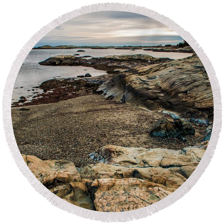 View Round Beach Towel featuring the photograph A Shot Of An Early Morning Aquidneck Island Newport Ri by Alex Grichenko