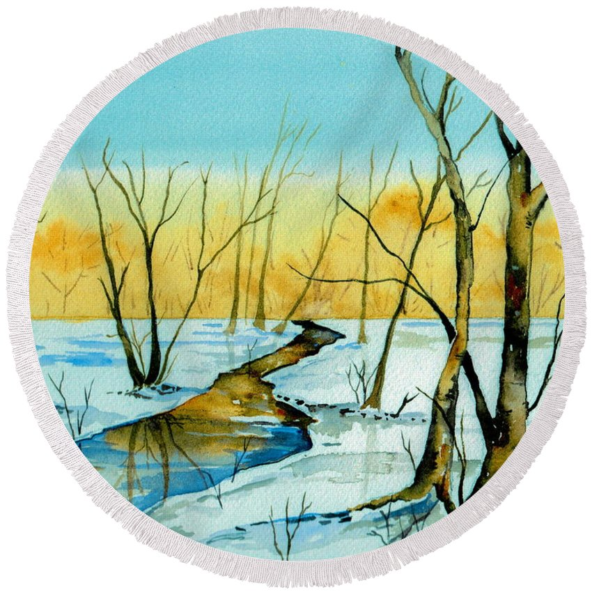 Landscape Round Beach Towel featuring the painting A Sign Of Winter by Brenda Owen