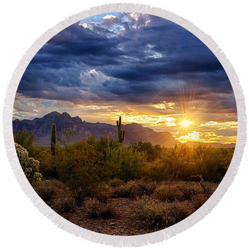 Sunrise Round Beach Towel featuring the photograph A Sonoran Desert Sunrise by Saija Lehtonen