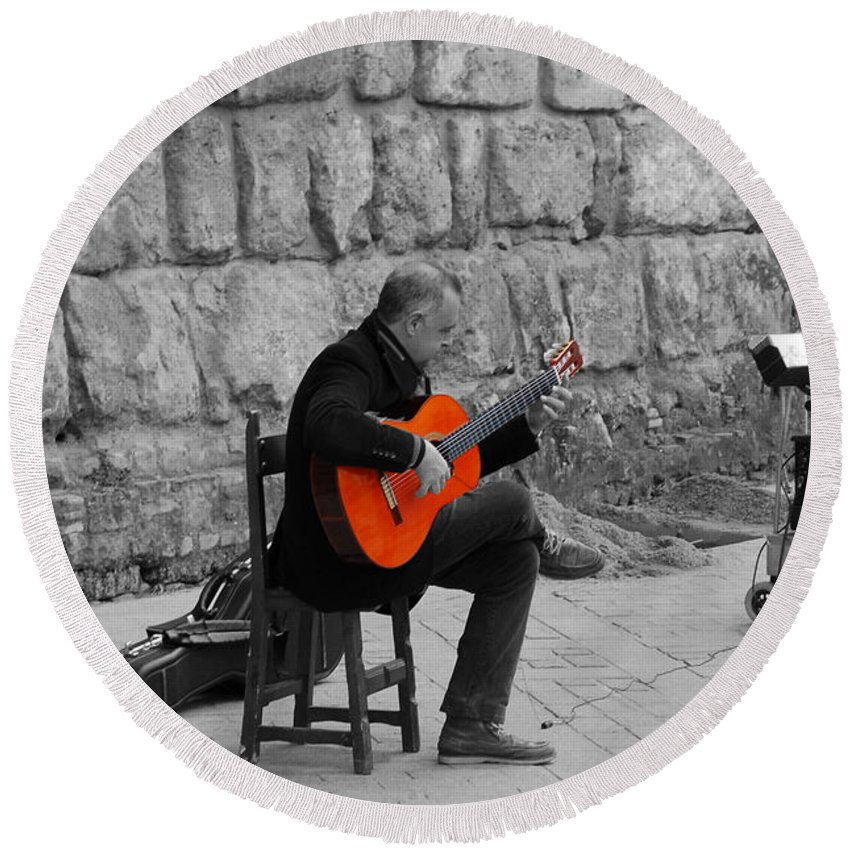 Musical Round Beach Towel featuring the photograph A Splash Of Flamenco by Andrea Mazzocchetti