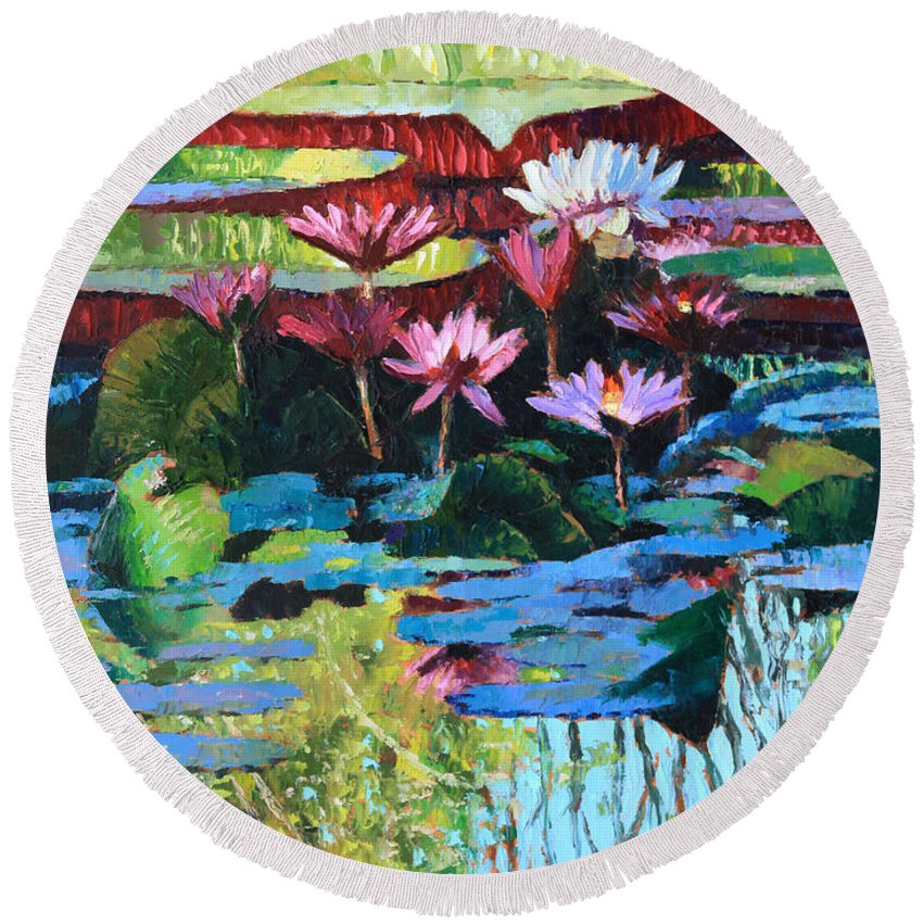 Garden Pond Round Beach Towel featuring the painting A Splash of Sunlight by John Lautermilch
